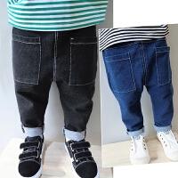 儿童新款2017童装男童女童百搭柔软弹力纯棉针织裤宝宝哈伦牛仔裤