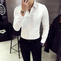 免烫长袖衬衣男纯色修身韩版休闲衬衫商务青年发型师寸衣