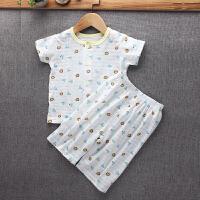宝宝夏季薄款睡衣 儿童家居服套装 婴幼儿短袖护肚子高腰裤 平腰款 黄色狮子 80码 建议身高65-75cm