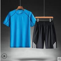 运动套装男土户外新品网红同款中年跑步运动装速干运动服爸爸休闲大码短袖两件