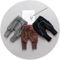 男童女宝宝加绒裤子0一1-3岁2秋冬季婴幼儿可开档休闲长裤12个月6