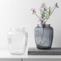 奇居良品 现代简约家居装饰摆件花瓶 梵妮水培玻璃花瓶花插