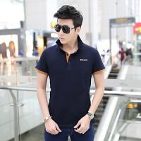 新款男士短袖T恤男韩版修身纯棉立领男装t恤男打底衫