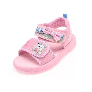 鞋柜夏季新款蝴蝶结透气平跟魔术贴凉鞋女童鞋
