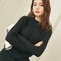 秋冬季圆领羊绒衫女短款羊绒毛衣女时尚休闲针织衫