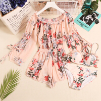 韩国泳衣女三件套小香风分体裙式保守显瘦款小胸聚拢泡温泉比基尼 粉色