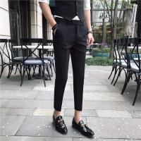 薄款裤子男修身优雅绅士九分小西裤休闲发型师潮流青少年小脚裤男