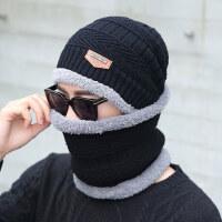 保暖加绒毛线帽 韩版骑车帽男士加厚护耳帽子 新款围脖一体骑行针织帽