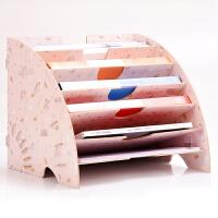 卡通扇形资料架木质多层文件架办公用品桌面杂志收纳档案A4纸分类架
