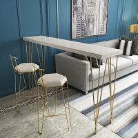 北欧吧台桌实木家用椅组合现代高脚餐桌靠墙吧台桌长条咖啡桌子 组装 框架结构