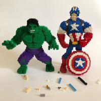 兼容乐高积木小颗粒蜘蛛侠美国队长绿巨人益智成年人拼装DIY玩具
