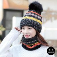 帽子女韩版潮时尚毛线帽女户外加绒加厚保暖针织帽休闲百搭围巾