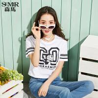 森马短袖T恤 女 夏装卡通半袖宽松纯棉体恤情侣款短上衣韩版学生