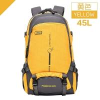 户外登山包双肩包女户外旅行包运动双肩背包休闲学生书包25L45L 黄色 45L黄色