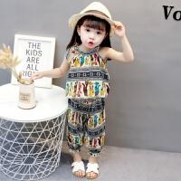 女宝宝夏装女孩洋气套装时尚1-3岁0韩版2潮衣服4女宝吊带女童背心 小猫无袖套装