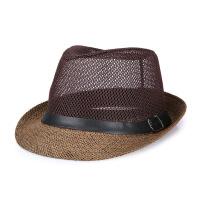 透气遮阳凉帽中老年人礼帽男士春夏草帽爵士帽中年爸爸老人防晒帽