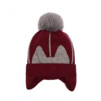 户外运动帽子男女宝宝护耳帽保暖套头帽儿童加厚毛线大毛球球帽
