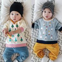 春秋季婴儿上衣宝宝长袖全棉T恤衫新生儿男女上衣套头打底衫0-1岁