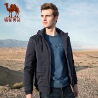 骆驼男装 秋冬新款可脱卸帽棉衣服男士韩版纯色夹棉保暖外套