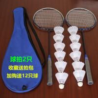羽毛球拍双拍送拍包再赠12只塑料羽毛球健身业余初级