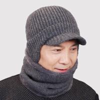 男士帽子护脖套装羊毛混纺保暖帽子 新款加绒加厚护耳老人帽 老年人帽子男毛线帽