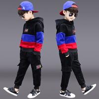 儿童洋气男孩帅气运动衣服两件套潮童装男童冬装套装