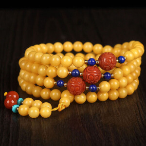 蜜蜡满蜡原创设计DIY108佛珠手链  配南红回纹珠