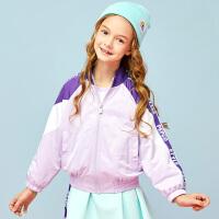 【2件3折到手价:109】小猪班纳童装女童外套中大童2020春夏新款休闲高领拉链衫外衣