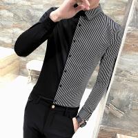 春款条纹拼接衬衣韩版男士修身长袖衬衫夜店男装发型师工作服