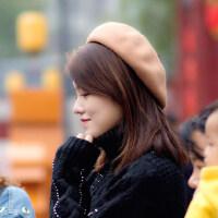 贝雷帽女韩版日系百搭南瓜帽羊毛呢英伦画家帽文艺复古蓓蕾帽