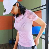 运动上衣女户外紧身跑步短袖健身T恤瑜伽服镂空网眼弹力半袖夏
