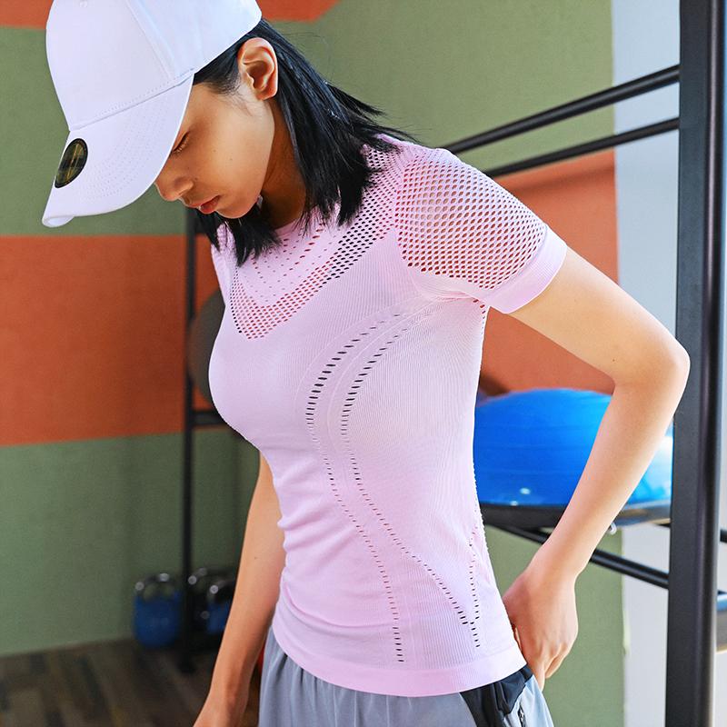 运动上衣女户外紧身跑步短袖健身T恤瑜伽服镂空网眼弹力半袖夏 品质保证 售后无忧 支持礼品卡付款