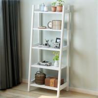 北欧实木书架置物架简约花架落地多层架创意客厅靠墙置物架多功能 518书架白色 全橡胶木