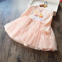 女童公主裙2017春夏款新款韩国女童纯棉冰淇淋长袖连衣裙韩版纱裙