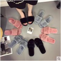 秋冬季新款韩版室内外拖鞋一字毛毛家居平底防滑孕妇女棉拖鞋