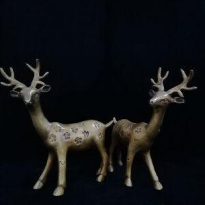 对鹿精品铜摆件