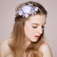 婚纱韩式新娘头饰结婚发饰婚纱 发饰蕾丝头饰头花礼服配饰 白色 均码