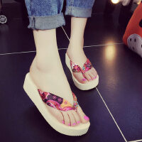 厚底坡跟凉拖防水台沙滩鞋防滑夹脚拖鞋潮韩版时尚布面人字拖女