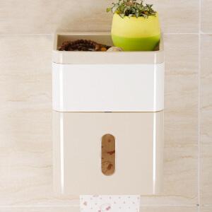 纸巾盒 创意浴室现代简约免打孔壁挂式防水可视卷纸筒客厅家用塑料方形纸巾收纳盒置物架卫浴用品