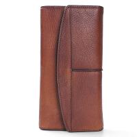 原创复古钱包男女牛皮长款钱夹男士拉链皮夹搭扣真皮青年潮流手包