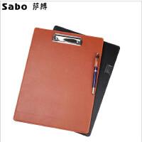 萨博新品办公板夹商务会议记录板仿皮A4/A5写字板垫板夹开单垫板