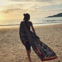 户外棉麻民族风围巾长款防晒披肩女沙滩巾旅游度假丝巾海滩纱巾