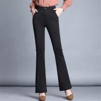 新款高腰女士休闲裤女装大码长裤女式弹力紧身微喇叭裤潮 XX