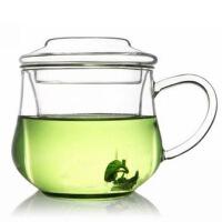 耐热玻璃杯 三件式花茶杯 创意茶杯 300毫升 小草帽 小兰雅