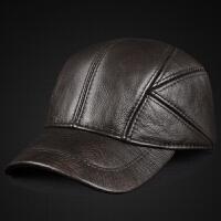 男士真皮帽子新款秋冬季保暖牛皮帽中老年户外加绒夹棉护耳棒球帽