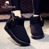 韩版短靴加绒加厚保暖防滑百搭学生靴子雪地靴女短筒