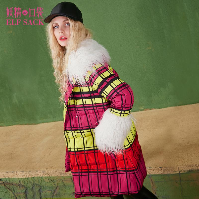 妖精的口袋格林童话冬装新款撞色格纹毛领长款羽绒服女清仓回馈 超值特惠