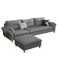 北欧沙发风格小户型三人位客厅组合现代简约布艺沙发实木整装沙发#85 +电视柜