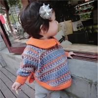 定制 女童秋冬针织毛衣斗篷外套 婴儿蝙蝠袖毛衣
