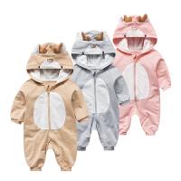 婴儿连体衣服春季0岁6月宝宝春装衣服新生儿外出服新年